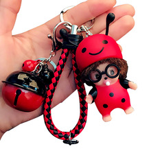New  Monchichi  Keychain Cartoon Bunched Ladybug Bee Key Chain Car Couple Key Ring Pendant Wholesale