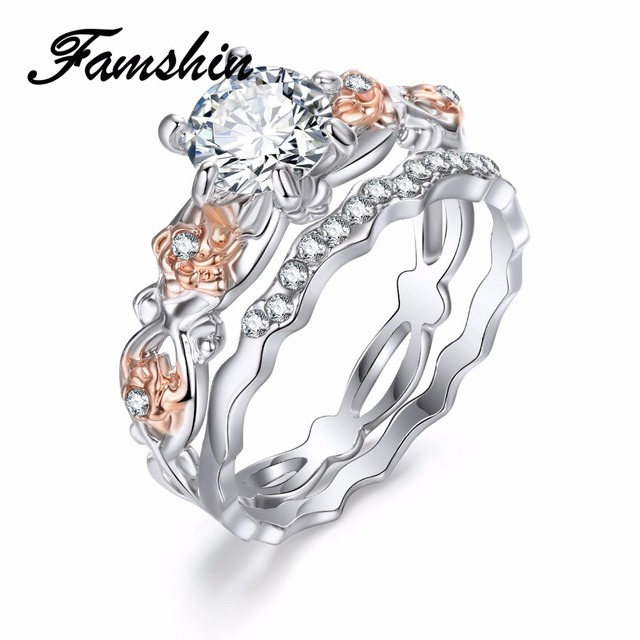 FAMSHIN 2Pcs Austrian CZ Crystal Wedding Rings Women Fashion Carving Rose Flower Hollow Zircon Inlaid Engagement Rings