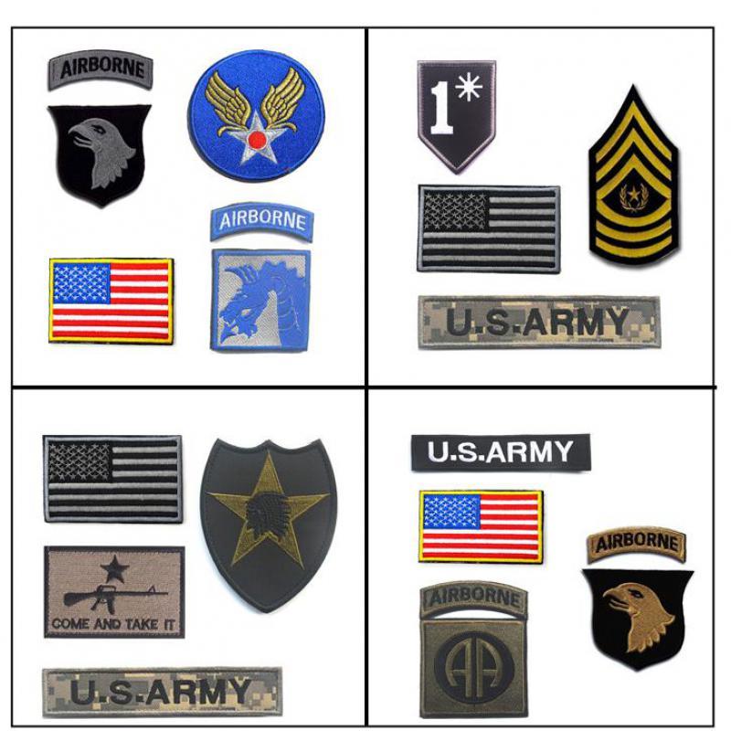 Insignia militar ejército Tactical Morale Patch ee.uu. bandera 101st División Aerotransportada rojo grande 2nd Infantry parche bordado completo conjunto