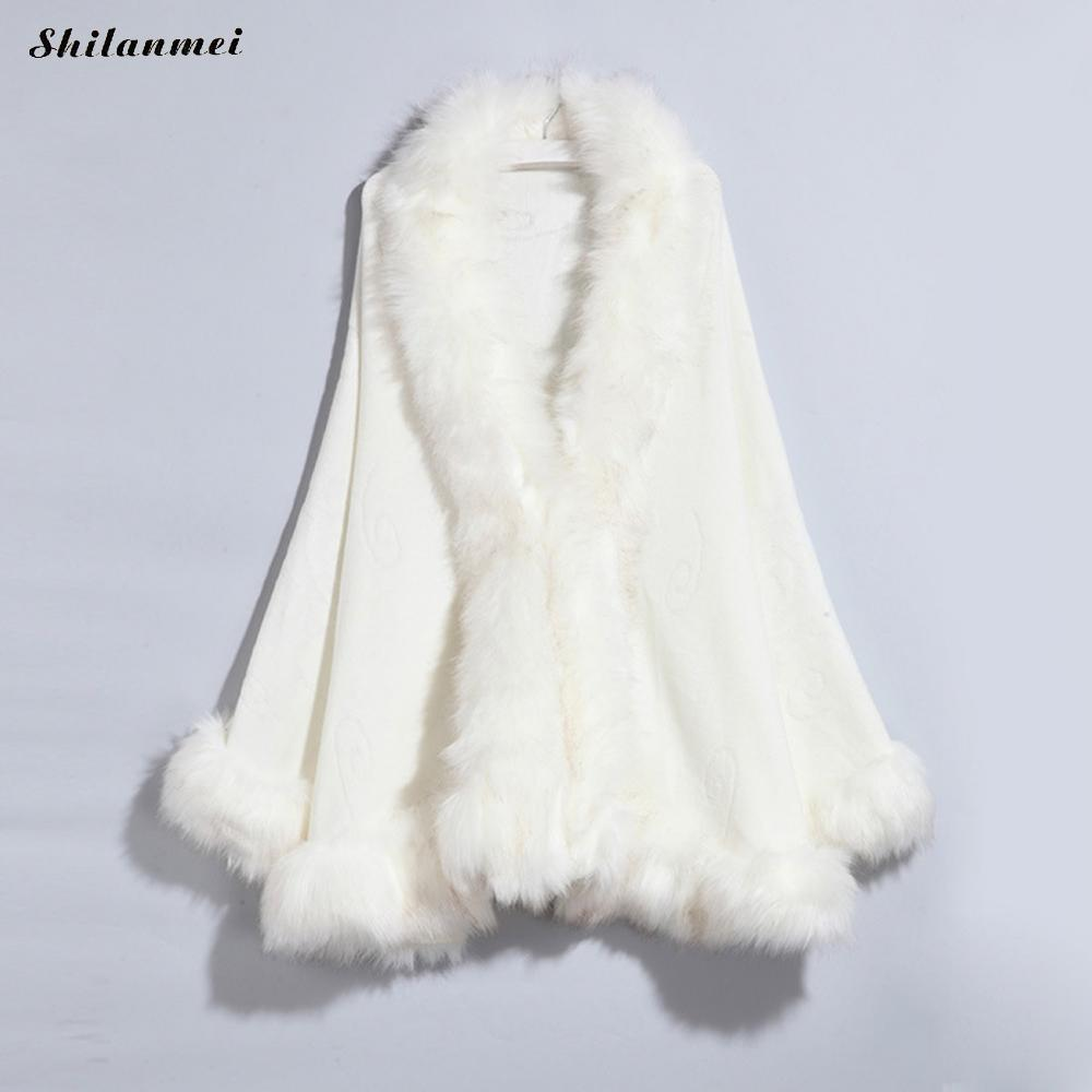 Adroit Winter Warm Knitting Wool Cloak Faux Fur Scarf Cashmere Shawl Coat With Cap Fur Large Wraps Loose Oversized Woman Poncho Cloak A Wide Selection Of Colours And Designs
