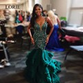 Luxury Mermaid Evening Dress Dark Green 2017 New Arrival Spaghetti Straps Black Girl Formal Prom Party Dresses For Pageant Gowns