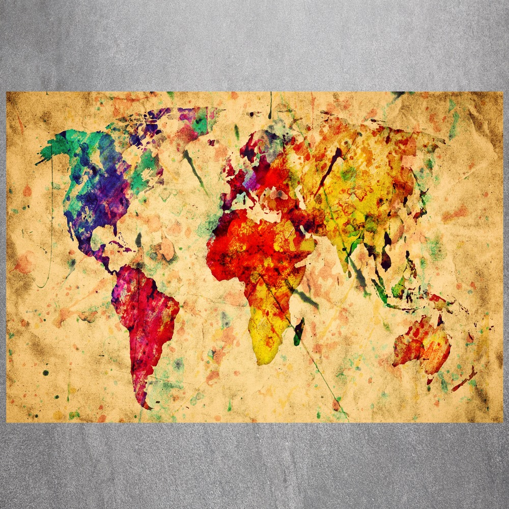 Watercolor World Map Canvas Art Print Painting Poster Wall Picture ...