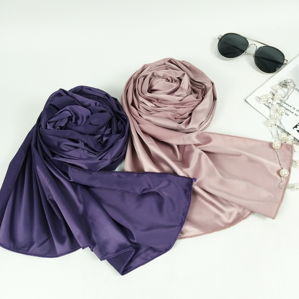 C9 High quality silk  satin hijab muslim shawls lady scarf scarves wrap headband 180*75cm 10pcs/lot