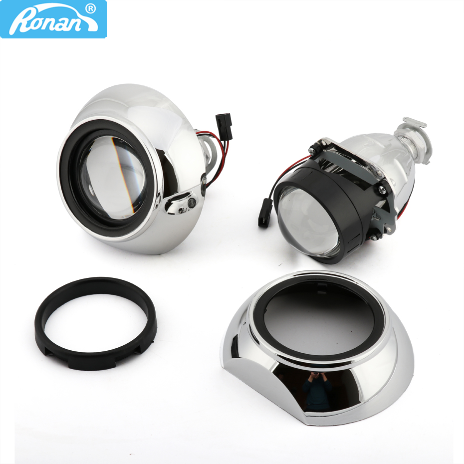 RONAN 2.5inches Bi-xenon HID Projector Headlights Lens 8.1 7.1 8.0 Iris Shrouds Adapter Ring Car Headlamp H1 H4 H7 Car Styling