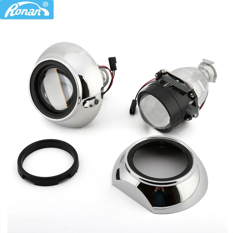 RONAN 2.5inches Bi-xenon HID Projector Headlights Lens 8.1 7.1 8.0 Iris Shrouds Adapter Ring Car Headlamp H1 H4 H7 Car Styling