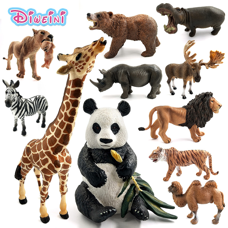 Simulation forest animals model wild Deer Hippo Lion Tiger Panda Rhinoceros Polar bear Reindeer Giraffe Camel Moose Buffalo toys детские кроватки forest lovely giraffe качалка