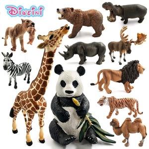 Simulation forest animals model wild Deer Hippo Lion Tiger Panda Rhinoceros Polar bear Reindeer Giraffe Camel Moose Buffalo toys(China)