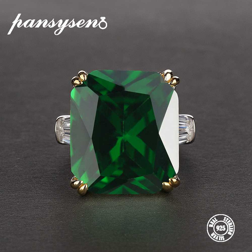 7 PANSYSEN Cores Verde Esmeralda Anéis para mulheres Rosa Verde Vermelho Roxo 5 S925 de Pedras Preciosas Jóias de Prata Tamanho Do Anel de Noivado -12