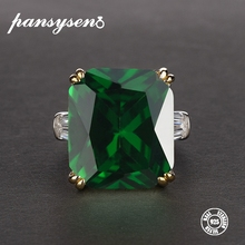 PANSYSEN 7 Colors Green Emerald Rings for women Pink Red Purple Gemstone S925 Silver Jewelry Engagement Ring Size 5-12