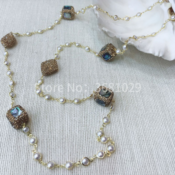 2018 abalone shellfish simple pearl necklace