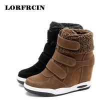 2017 New Winter Shoes Cow Suede Shoes Women Hidden Heel Boots Woman Casual Shoes Wedges bota feminina LORFRCIN