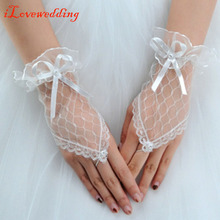 Red/Black/White Lace Wedding Gloves Fingerless Bridal Gloves Beautiful Gloves Cheap Wedding Accessory for Bride