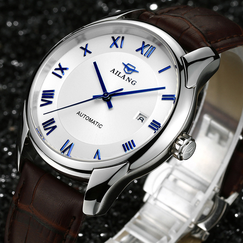 AILANG Luxury Brand Fashion Automatic Mechanical Watch Men Stainless Steel Waterproof Calendar Sport Wrist Watch Relojes A083 đồng hồ binger bg54