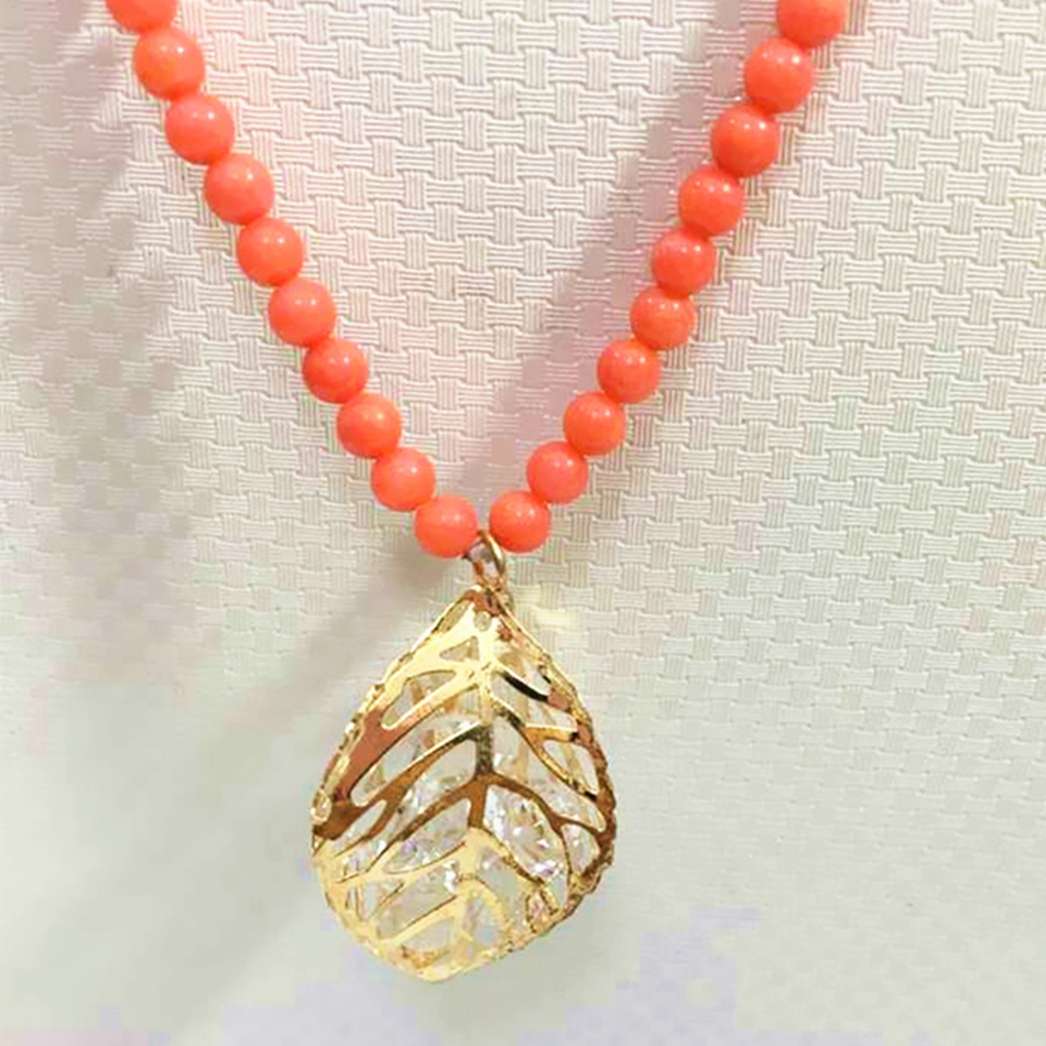 Fashion orange artificial coral 6mm round beads crystal leaf cage women long chain necklace fashion clothes jewelry 32inch B981