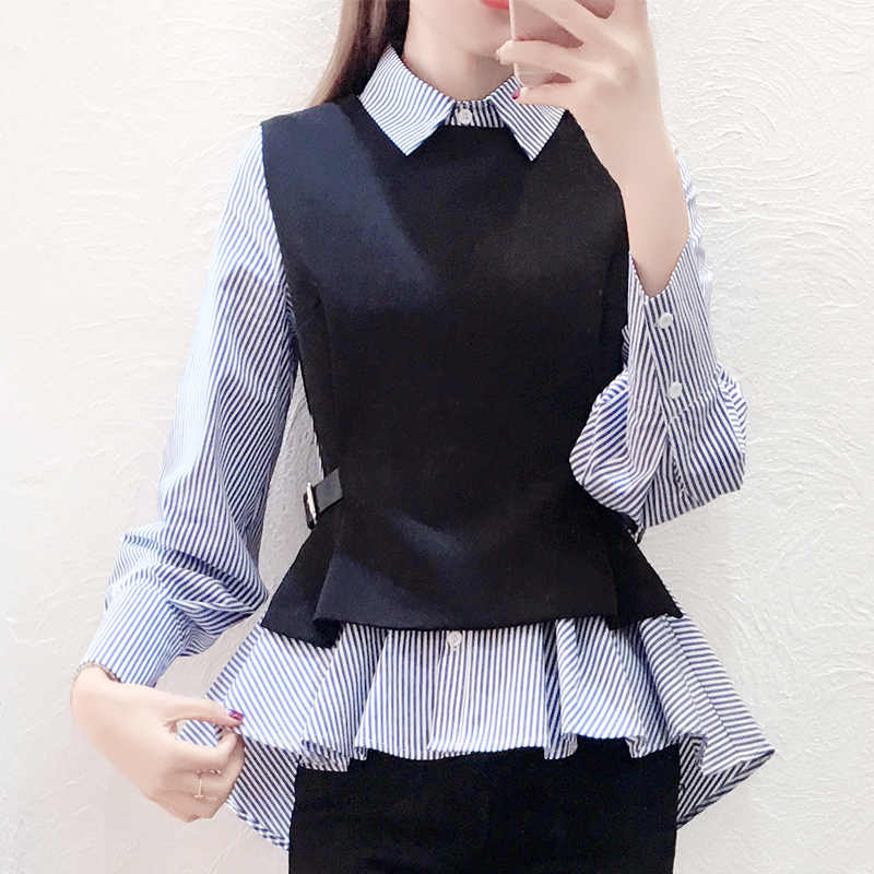 Female Patchwork Shirt Womens Tops Office Blouse Fake Collar ladies Blue Stripe Slim Casual Autumn Warm Shirts  Long Sleeve 2PC