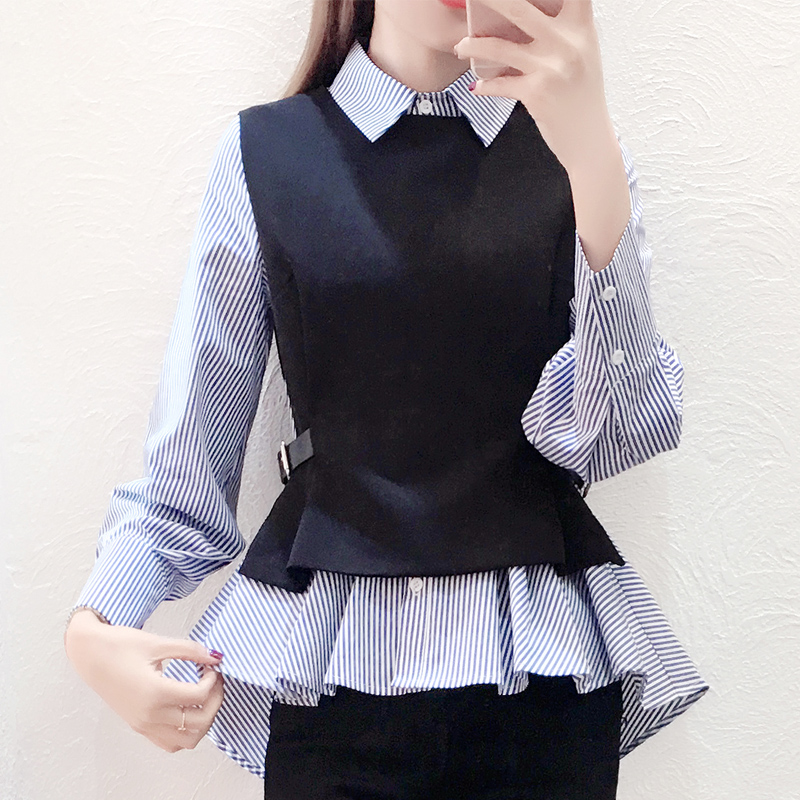 Female Patchwork Shirt Fake Collar ladies Slim Blue Stripe Casual Autumn Warm Shirts Blouse 2PC Long Sleeve Womens Tops Office