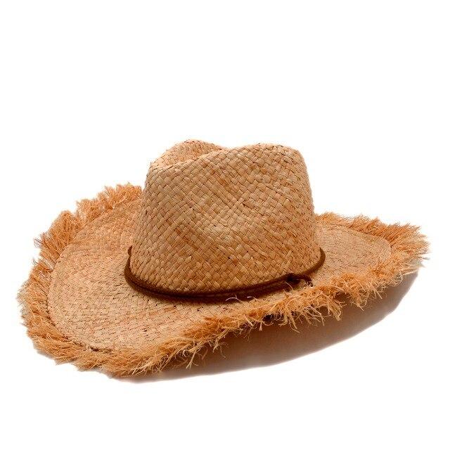 Moda hombres Jazz Cowboys paja sombreros para hombre occidental naturaleza  rafia paja sombrero nuevas mujeres vaqueras b7198ca21f1