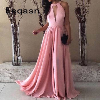 Cheap Long Pink Prom Dresses A Line Sleeveless Sweep Train Backless Evening Formal Party Dress for Women 2020 vestido de gala