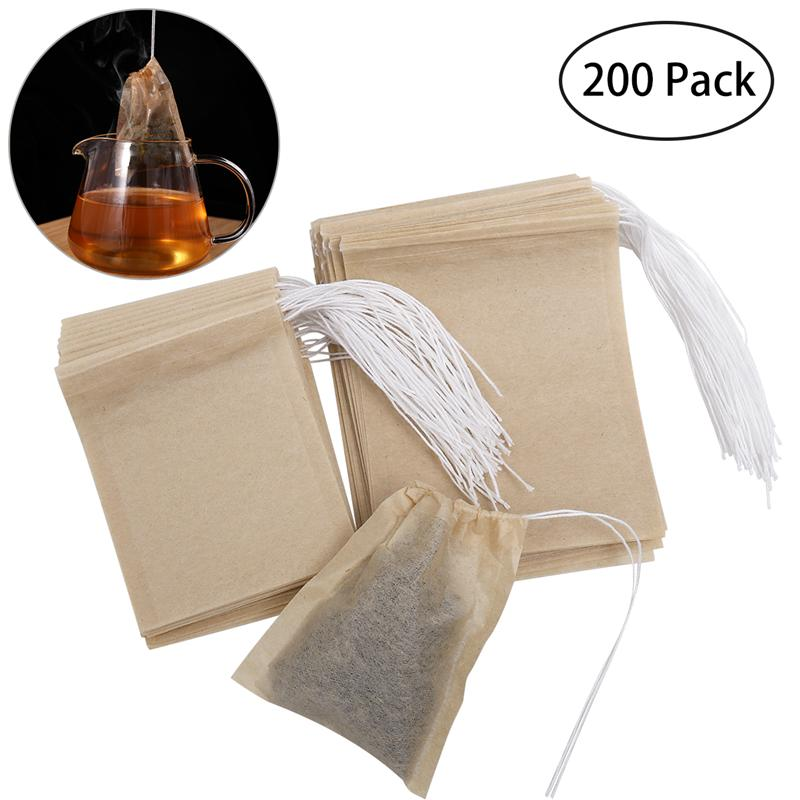 Us 6 3 36 Off Ounona 200pcs Drawstring Tea Bag Filter Paper Empty Pouch Bags For Loose Leaf Powder Herbs Original Color In Storage From