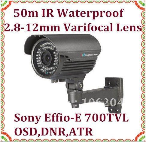 Sony CCD 700TVL Effio E Outdoor Security camera 2.8-12mm manual zoom lens 50m night vision infrared waterproof bullet camera