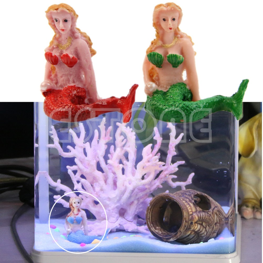 Hot resin the little mermaid aquarium fish tank for How to decorate a fish tank with household items