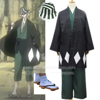 Anime Bleach Urahara Kisuke Kimono Cosplay Costume Full Set top+pant+coat+Socks+clogs+hat