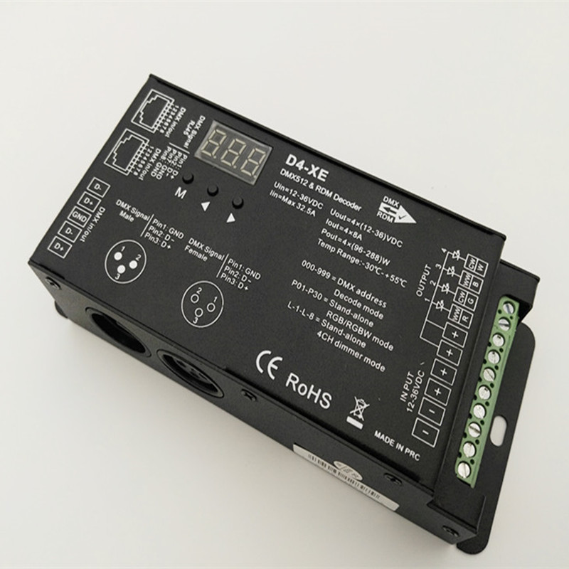 Fast shipping 20pcs D4 XE 4 channel PWM constant voltage DMX decoder with digital display DC12