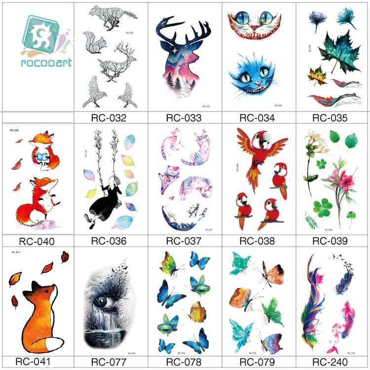 Rocooart tilki geçici dövme çıkartmalar kuşlar kelebek Taty çocuklar için küçük sahte dövme vücut sanatı su geçirmez dövme çocuklar hediye