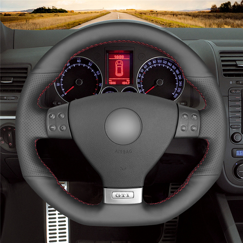 mewant preto couro artificial cobertura de volante