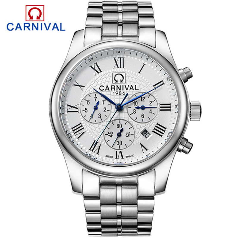 купить CARNIVAL Classic Automatic Watch Men Casual Waterproof Multifunction Mechanical Watches Stainless Steel Wristwatch montre femme онлайн