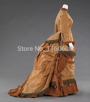 1874 Fashionable Gold Dress Silk Bustle Afternoon Dress