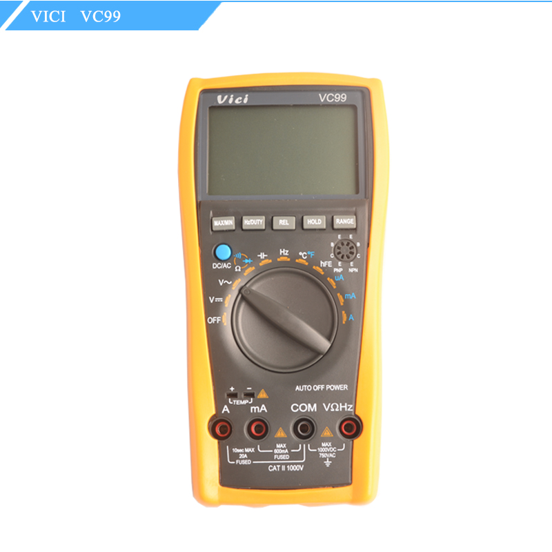 Vici VC99 3 6/7 Auto range digital multimeter DC/AC resistance capacitance meter+Alligator Probe+Thermal Couple TK cable 1 pair silicone wire universal probe test leads pin for digital multimeter needle tip multi meter tester probe 20a 1000v