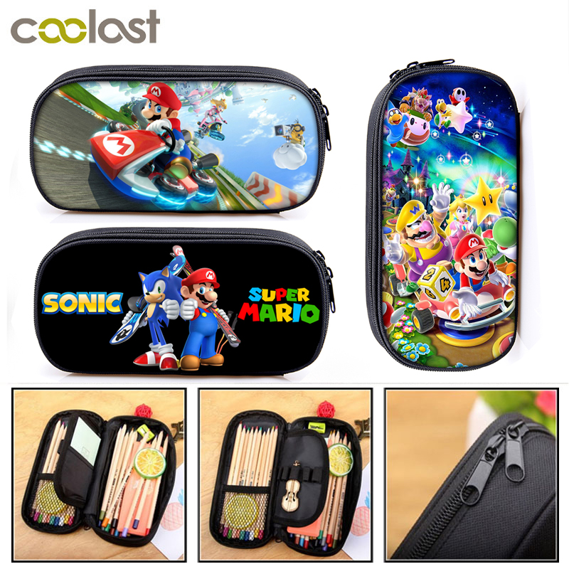 Cartoon Mario / Smash Bros Cosmetic Cases Pencil Bag Boys Girls Stationary Bag School Case Supplies Pencil Box
