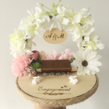1pcs lot White Customized Anniversary Engagement wedding party decor Forest wood flower custom ring holder