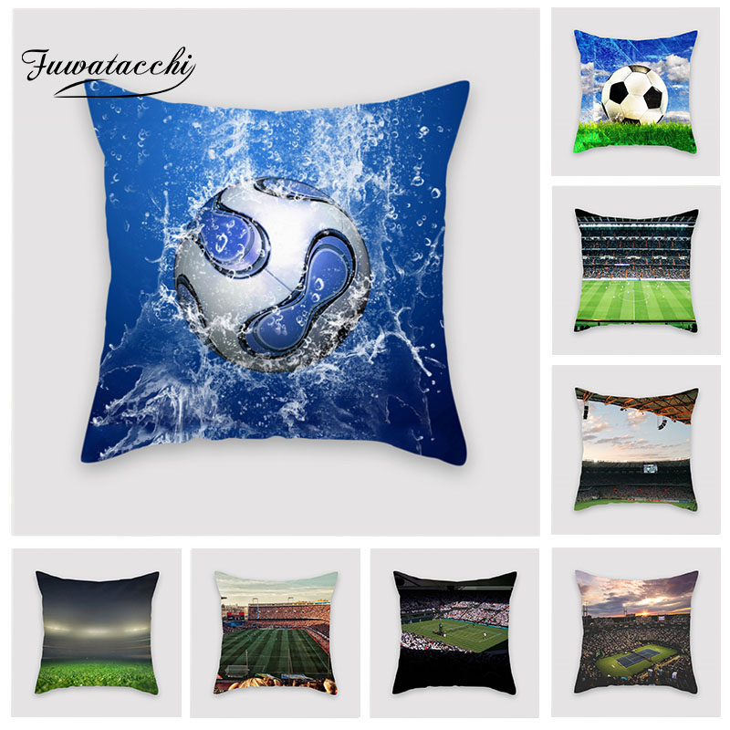 Fuwatacchi Football Field Cushion Cover Football World Cup Pillow Cover for Home Sofa Bedroom Decorative Pillows