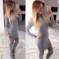Kaywide New Arrival Rib Winter Dress Women Turtleneck Off The Shoulder Sexy Dresses Full Sleeve Elegant Bodycon Sweater Dress