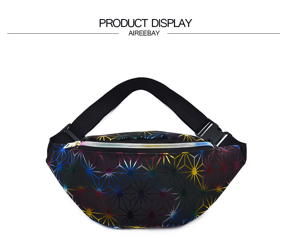 AIREEBAY Holographic Fanny Pack Women Silver Waist Bag Female Belt Bag Black Geometric Waist Packs Laser Chest Phone Pouch