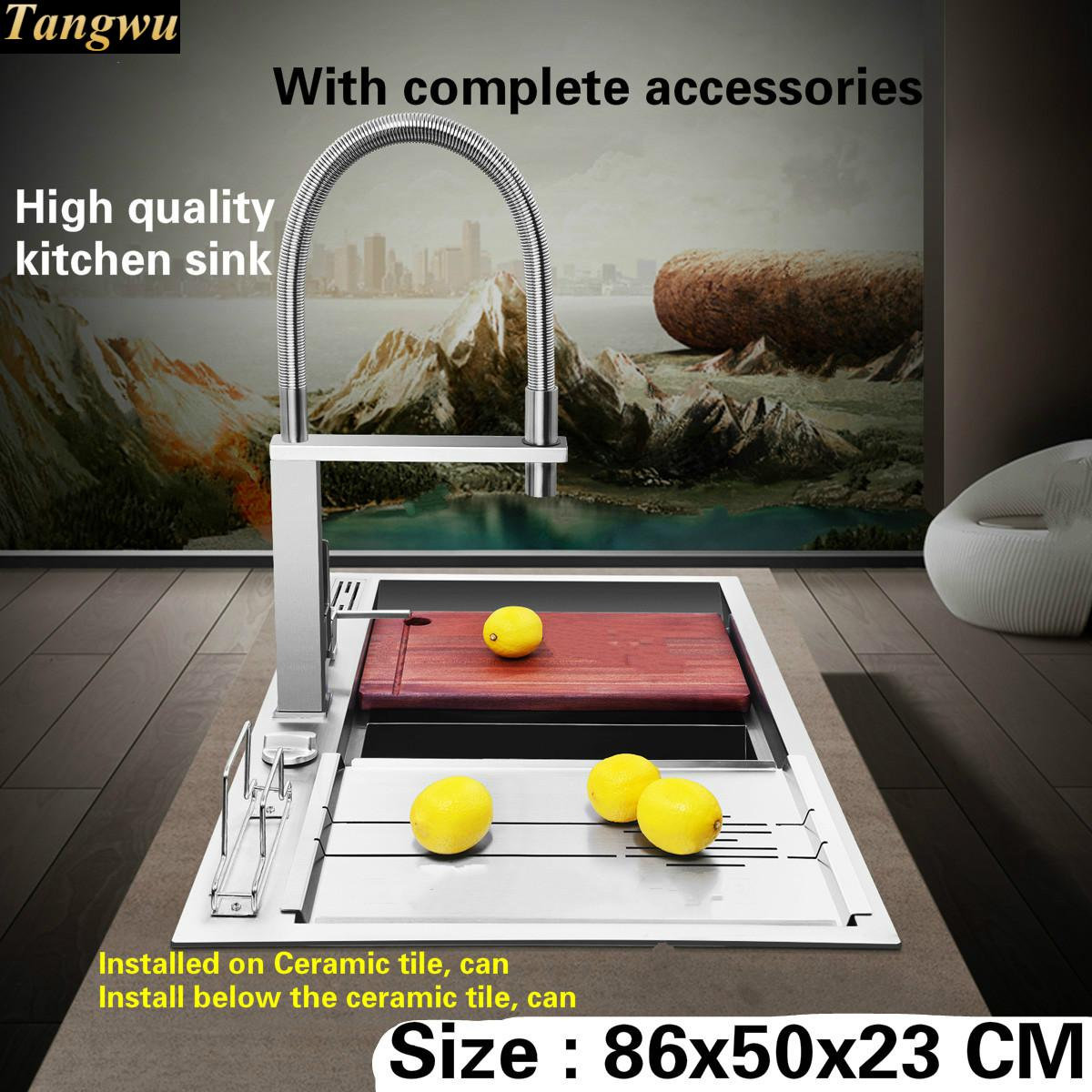 Tangwu Luxurious and high-grade kitchen sink button drainage 4 mm thick food grade stainless steel double groove big 86x50x23 CM free shipping food grade 304 stainless steel hot sell kitchen sink double trough 0 8 mm thick ordinary 78x43 cm