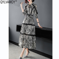 Vintage 100% Silk Summer Dress 2019 Korean Black Maxi Dress Women Spring Floral Dress Elegant Ladies Dresses Vestidos H010915