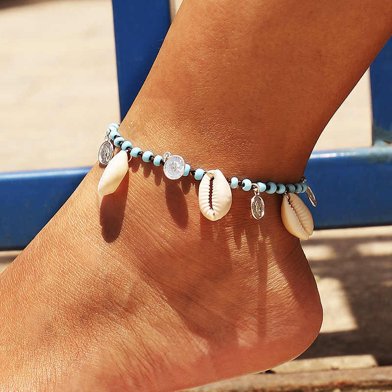 Vintage Blue Beads Anklets Shell Turtle Coin Starfish for Women Handmade Foot Anklet Chain Bracelet Bohemian Beach Jewelry