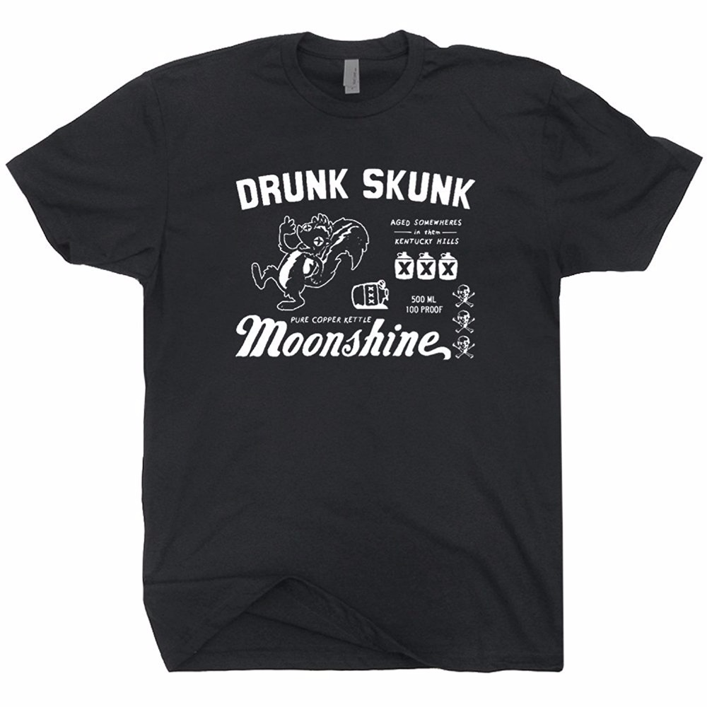 Drunk Skunk Moonshine T Shirt Moonshiners Beer Alcohol Vodka Rum Gin Whisky Scotch Tennessee Tee T Shirts