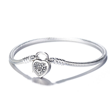 Love Heart Lock S925 Sterling Silver Bracelet Snake Chain Bangle For European Silver Charms Beads Women Jewelry Valentine Gift popular good quality gift silver jewelry bangle pink love heart famous crystals 925 pure silver bangle