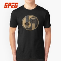 Men T Shirt Acoustic Guitars Yin Yang Guitar Music Men Organnic Cotton Short Sleeve Tshirs Funny