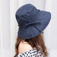 Hot sales Women Bucket Cap Pure Color Bow Cotton Hemp Foldable Outdoor Sunscreen Black Hats For women Femme