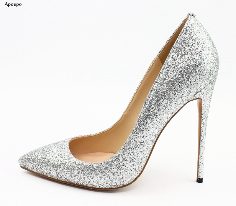 New Bling Bling Glitter Embellished High Heel Shoes 2018 Sexy Pointed Toe Thin Heels Woman Pumps Office Lady Heels sexy bling bling glitter high heel pumps women pointed toe metal heels party dress shoes slip on office lady dress shoes