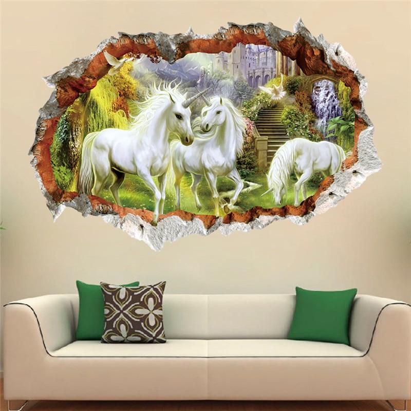 Unicorn Horse Forset Wall Stickers Creative 3d Break