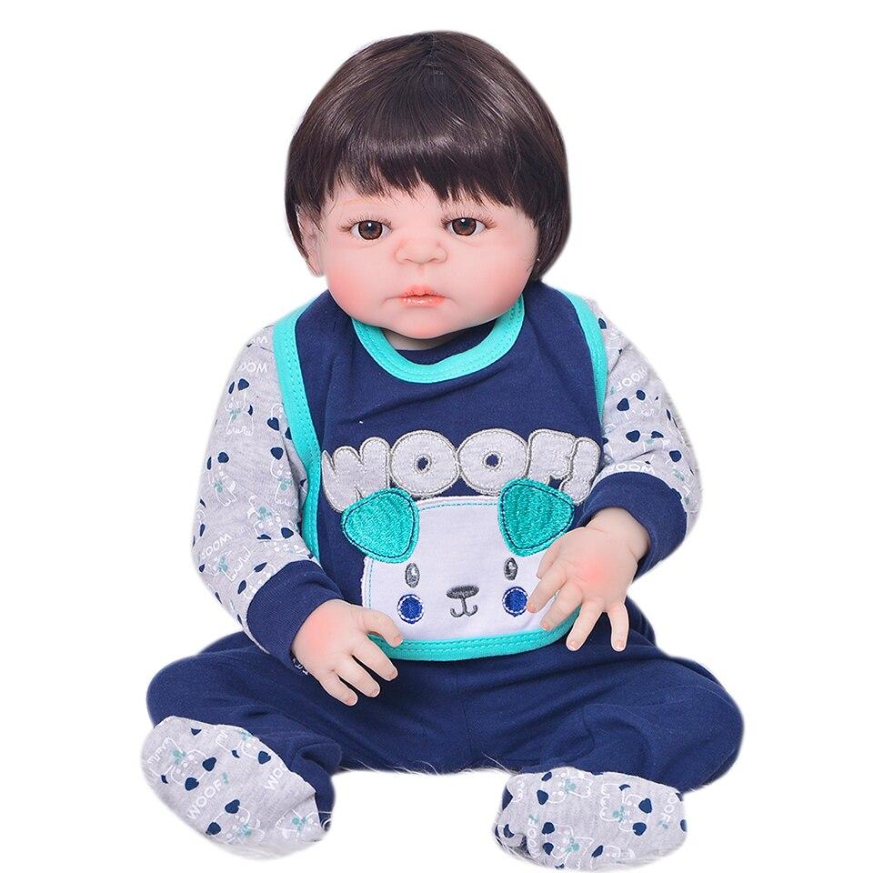 23 ''Мода новорожденных куклы Полный Силиконовые винил возрождается куклы дети так действительно 58 см мальчик партнер детские подарки на ден...