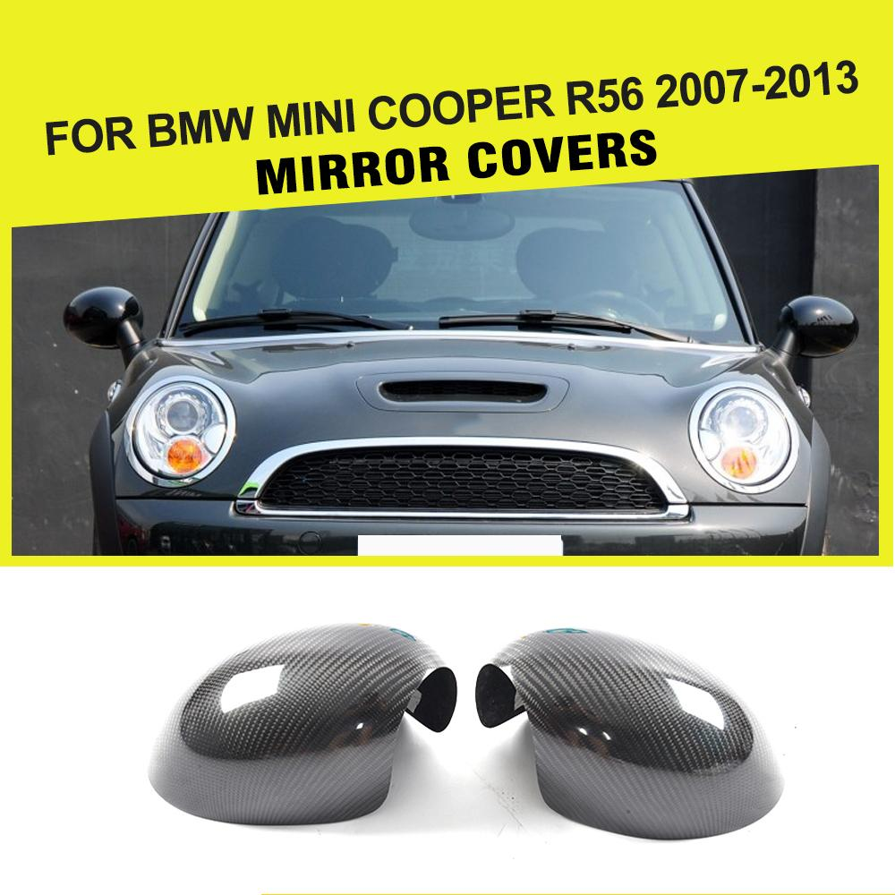 Carbon Fiber Racing Side Rearview Mirror Covers Caps Car Sticker for BMW Mini Cooper R56 2007-2013 Add On Style 2016 new hot fashion panda wing smile face design 3d decoration sticker for car side mirror rearview free shipping