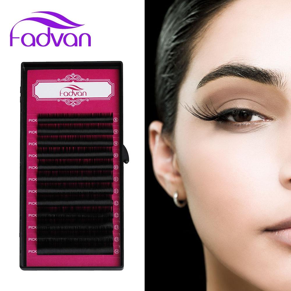 Fadvan Premium Natural False Eyelashes Extensions For Professional Lash Building J/B/C/D Curl Lashes Extension