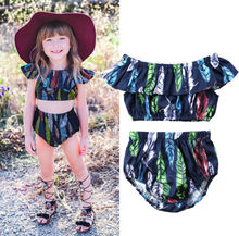 Pudcoco Toddler Kids Girls Feathers Outfit Off Shoulder Crop Tops Bottom Shorts 2Pcs Summer Baby Clothing Clothes Set new